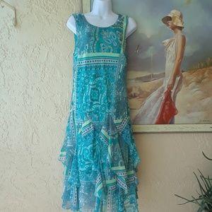 Aqua ruffled dress